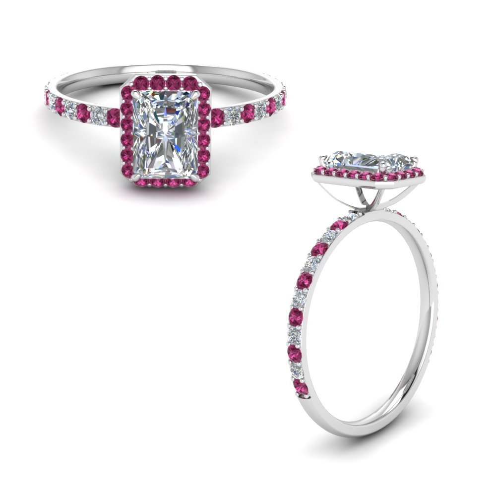 Radiant Cut Halo Diamond Engagement Ring With Pink Sapphire In 14K White Gold