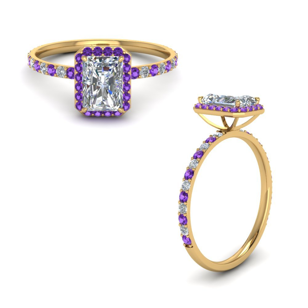 Radiant Cut Halo Diamond Engagement Ring With Purple Topaz In 14K Yellow Gold