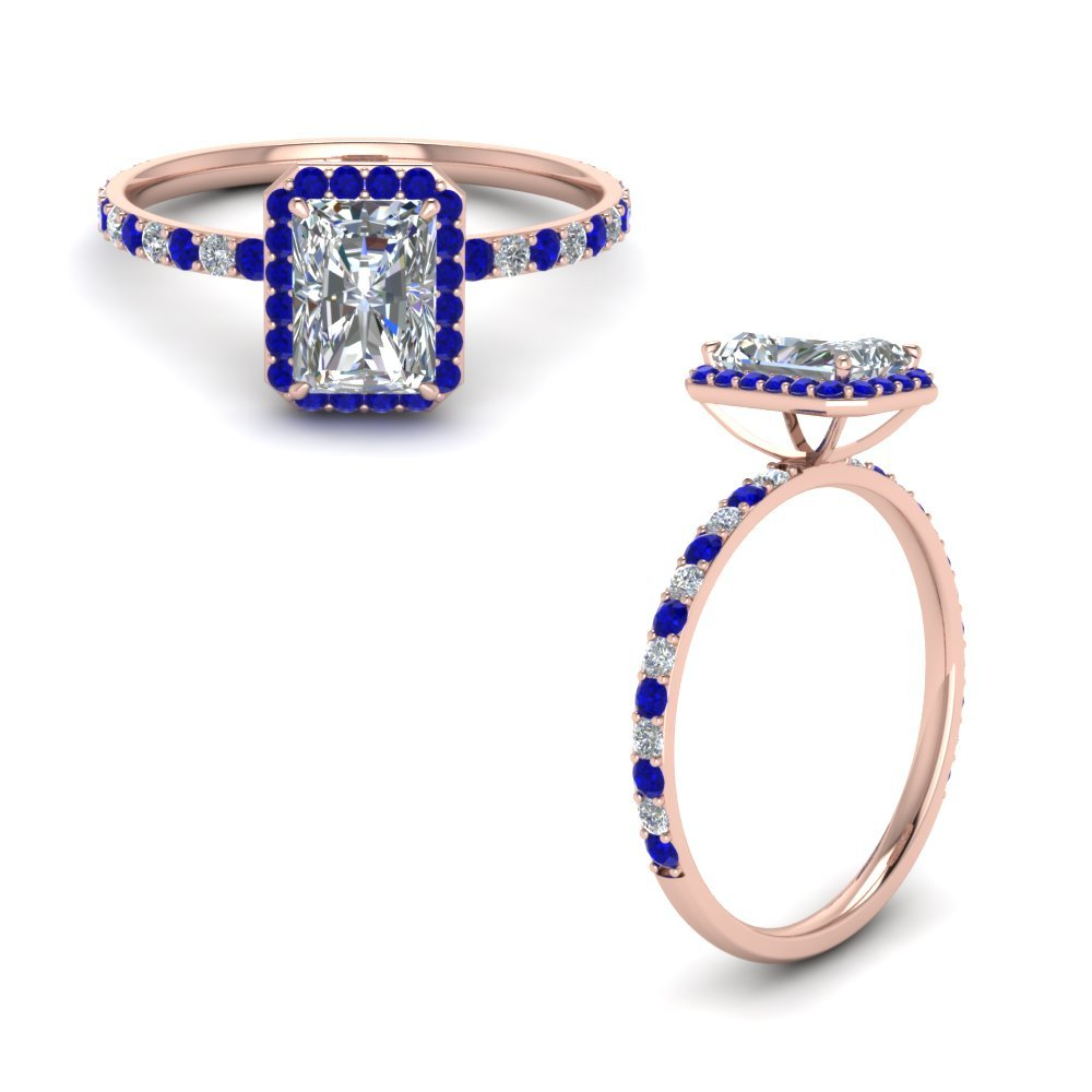 Radiant Cut Halo Diamond Engagement Ring With Sapphire In 14K Rose Gold