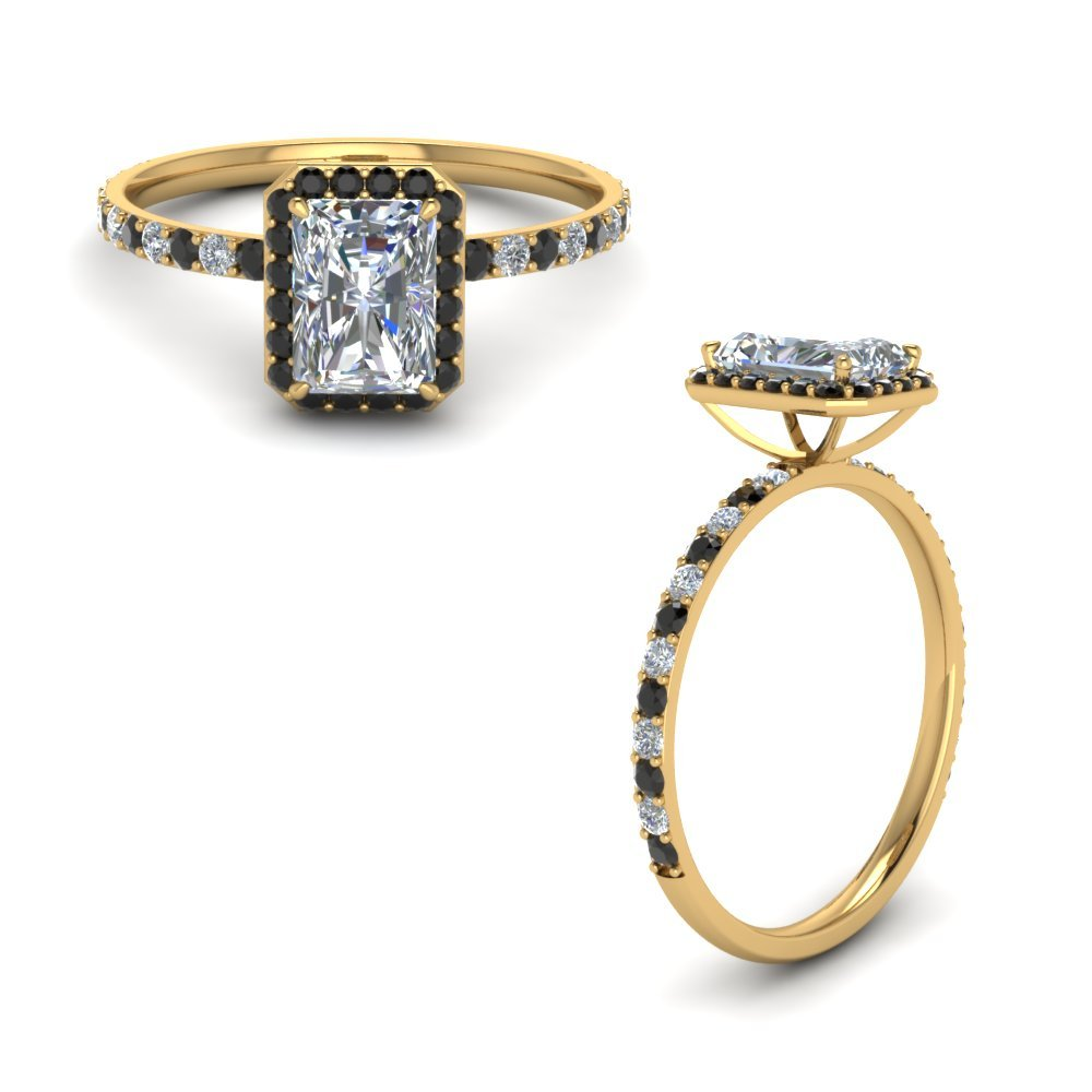 Radiant Cut Halo Engagement Ring With Black Diamond In 18K Yellow Gold