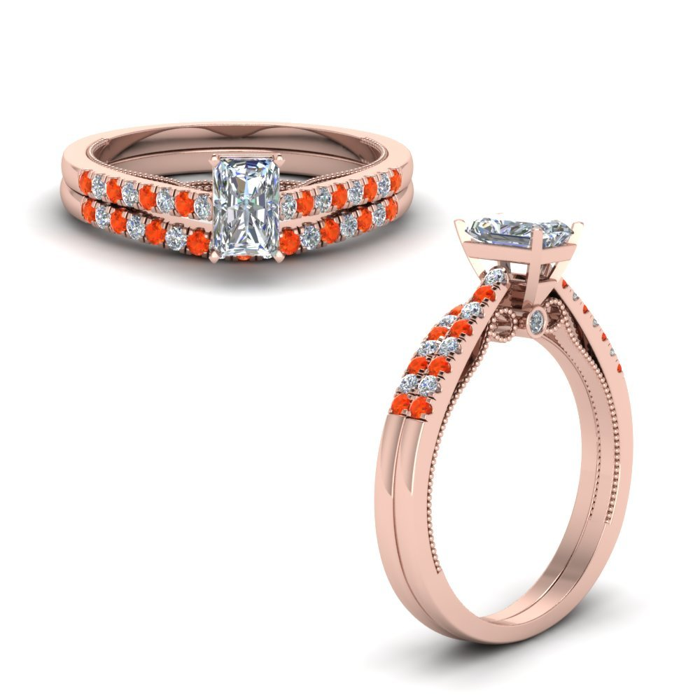 Wedding Ring Set With Orange Topaz
