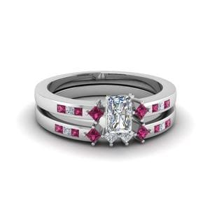 Channel Set Dainty Wedding Ring Set
