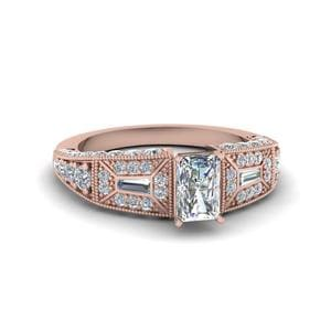 Radiant Cut Victorian Vintage Style Diamond Engagement Ring In 14K Rose Gold