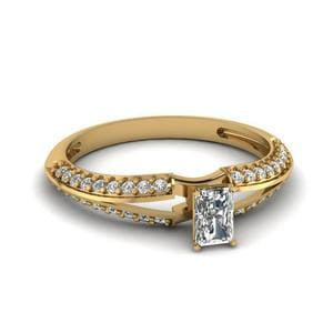 Radiant Cut Petite Split Shank Diamond Engagement Ring In 14K Yellow Gold