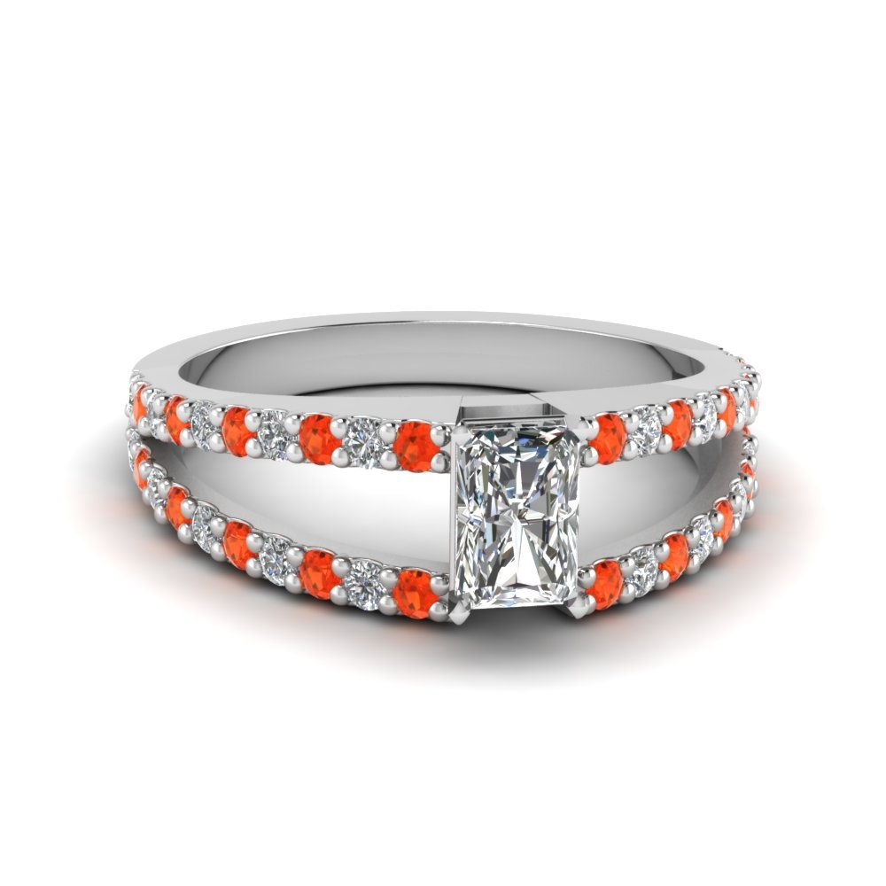 Orange Topaz Encrusted Split Ring