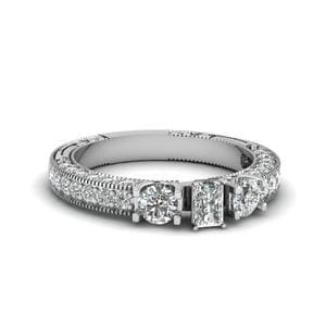 Radiant Cut Stone Accented U Prong Diamond Vintage Engagement Ring In 14K White Gold