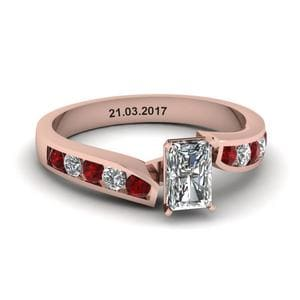 Unique Swirl Radiant Diamond Engagement Ring With Ruby In 14K Rose Gold