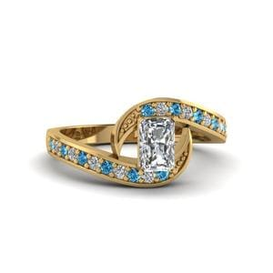 Interlock Pave Blue Topaz Ring