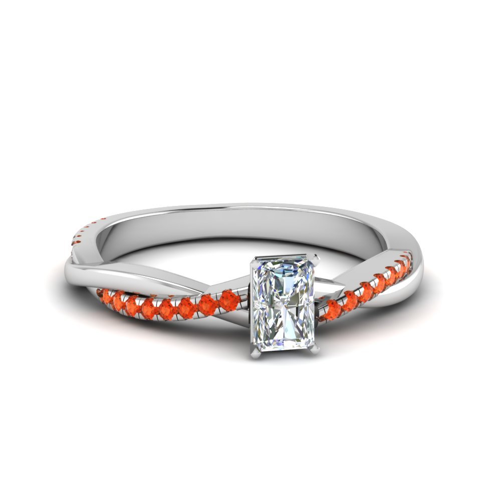 Radiant Cut Twisted Vine Diamond Ring With Orange Topaz In 14K White Gold
