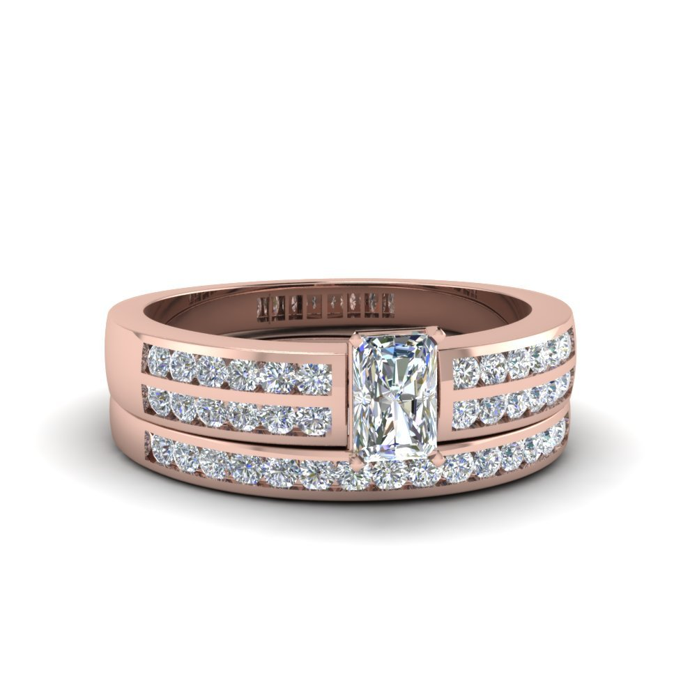 Radiant Cut Two Row Channel Diamond Bridal Set In 18K Rose Gold