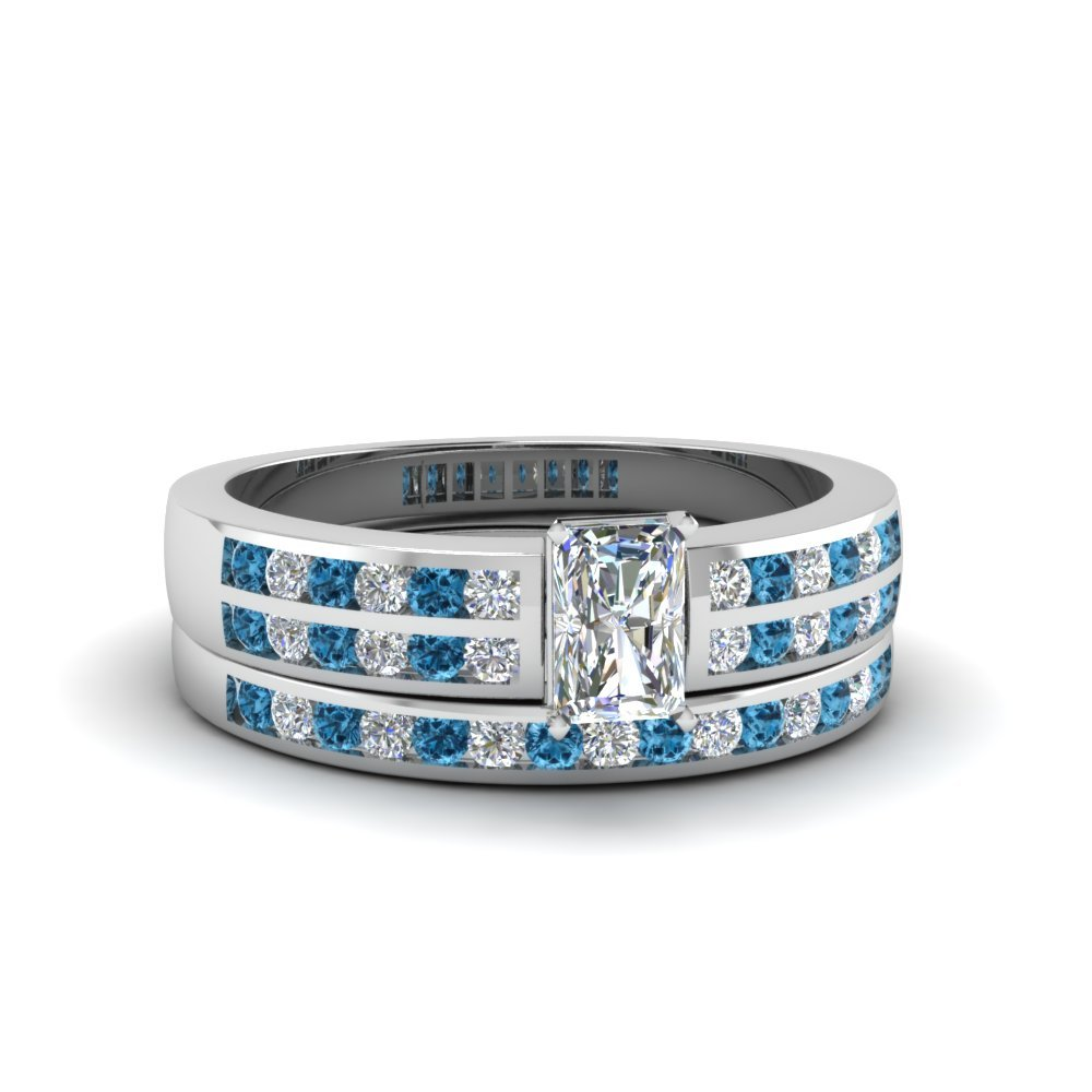 Radiant Cut Two Row Channel Diamond Bridal Set With Ice Blue Topaz In 950 Platinum