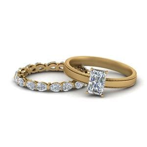 Milgrain Diamond Bridal Ring Set