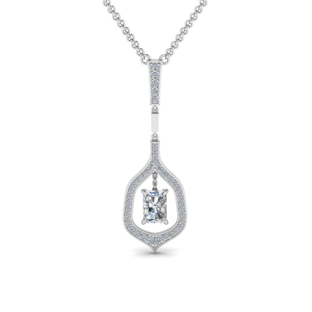 Radiant Drop Diamond Necklace In 14K White Gold