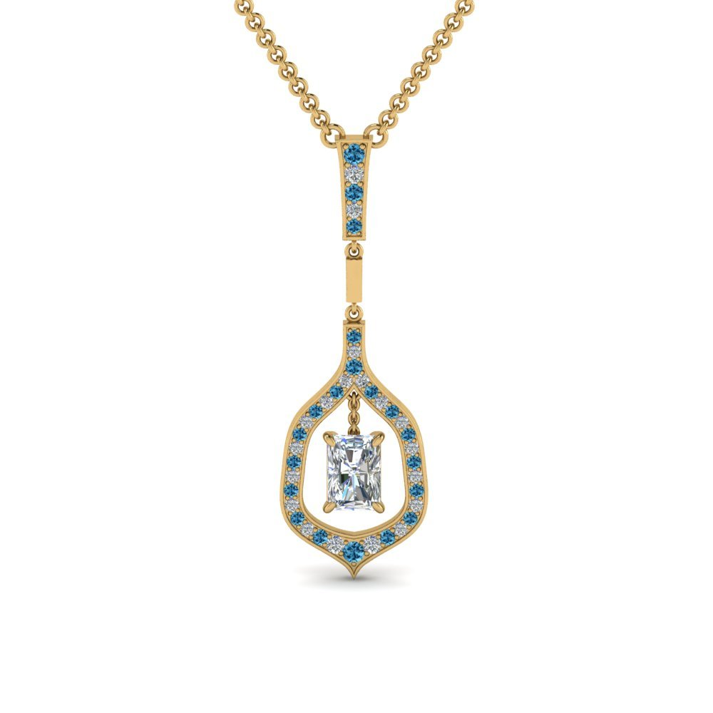 Topaz Radiant Diamond Pendant
