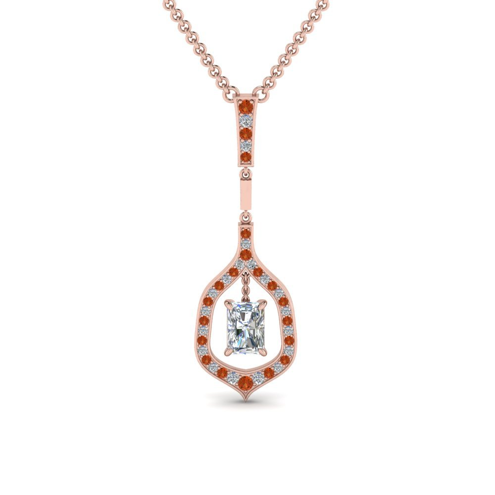 Drop Diamond Pendant With Orange Sapphire