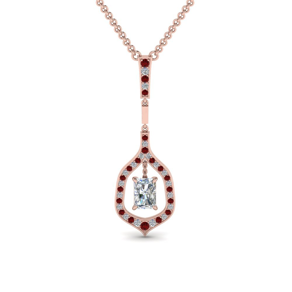Ruby With Radiant Drop Pendant