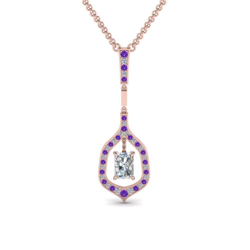 Purple Topaz Pave Diamond Pendant