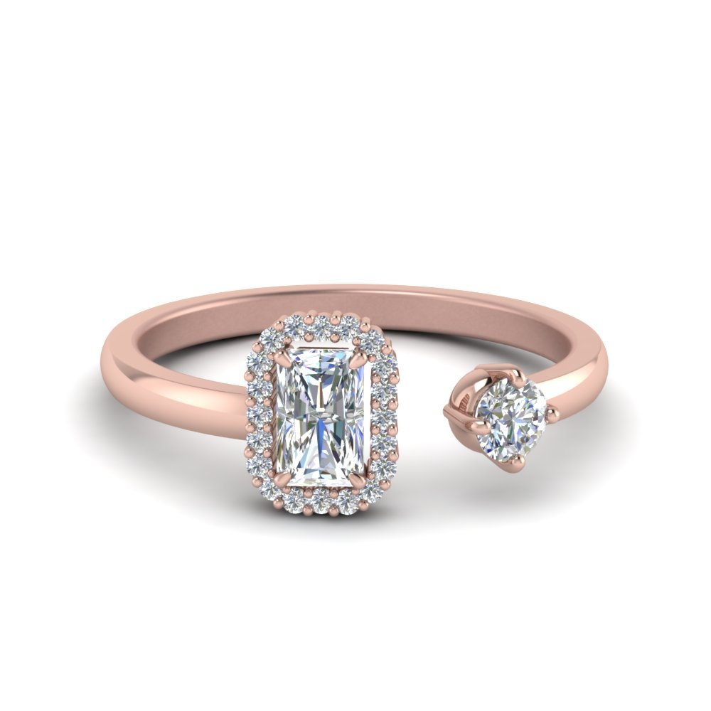 Radiant Halo Diamond Two Stone Open Ring