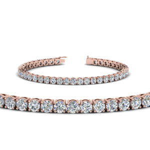 18K Rose Gold Real Diamond Tennis Bracelet