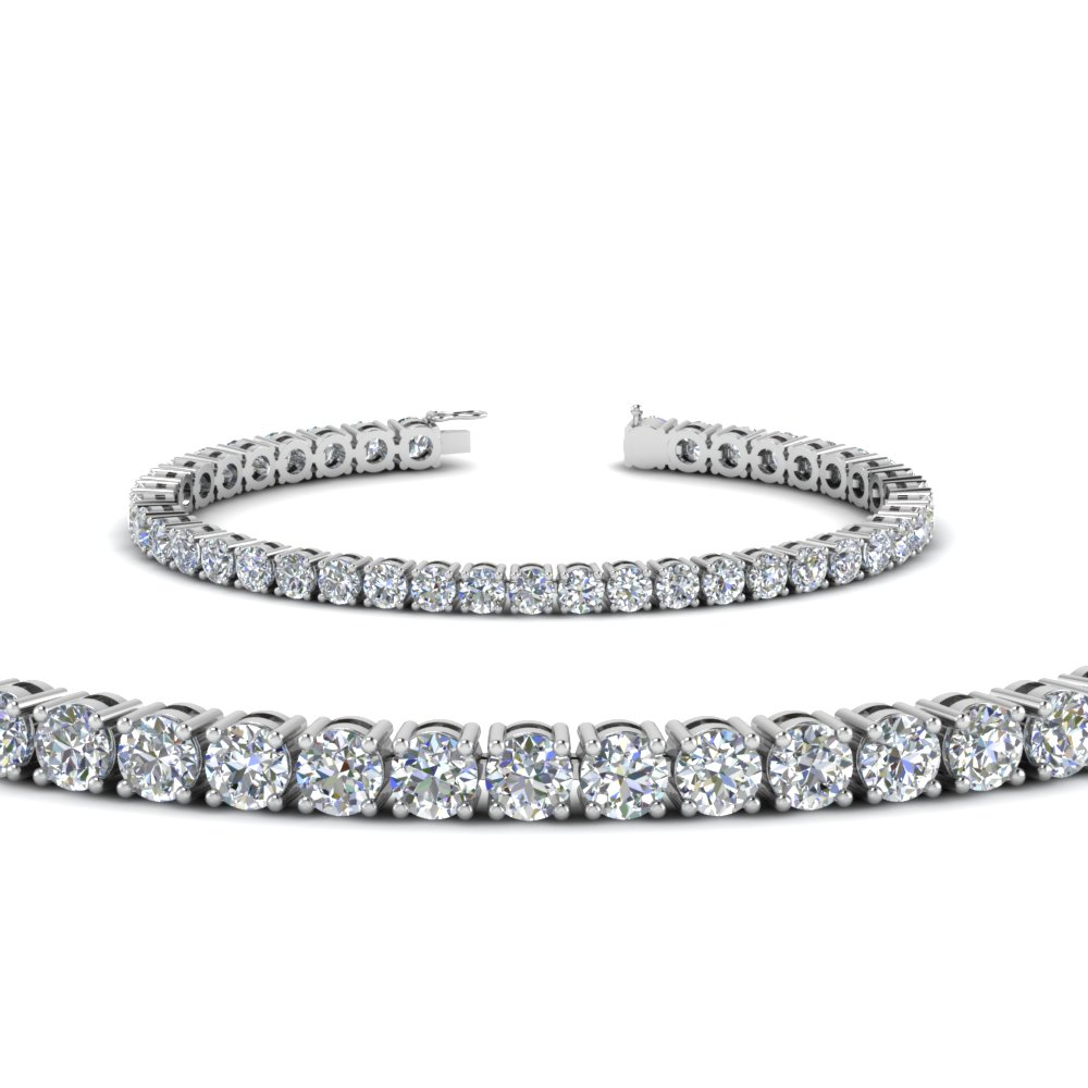 14K White Gold Real Diamond Tennis Bracelet