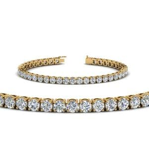 18K Yellow Gold Real Diamond Tennis Bracelet