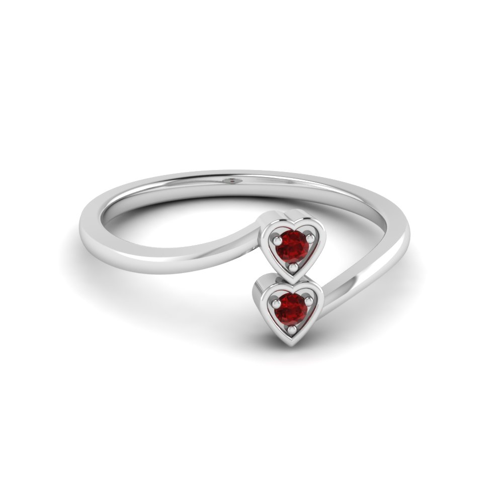 Crossover 2 stone Promise Ring