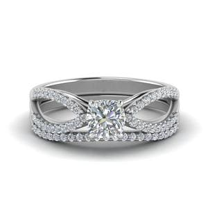 Reverse Split Shank Wedding Set