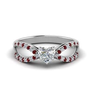 Solitare Heart With Ruby Diamond Ring