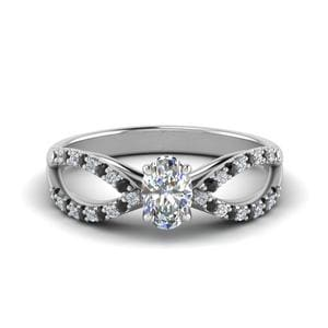 Platinum Black Diamond Split Ring