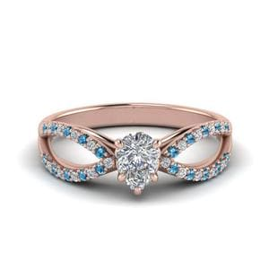 Blue Topaz With Pear Cut Rose Gold Ring