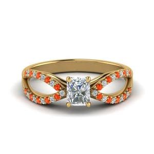 Reverse Split Shank With Orange Topaz Ring