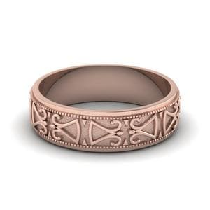 Antique Design Wedding Band In 18K Rose Gold
