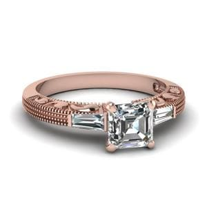 Antique Engraved 3 Stone Asscher Cut Engagement Ring In 14K Rose Gold