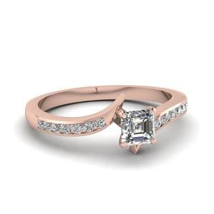 Twist Channel Asscher Diamond Engagement Ring In 14K Rose Gold