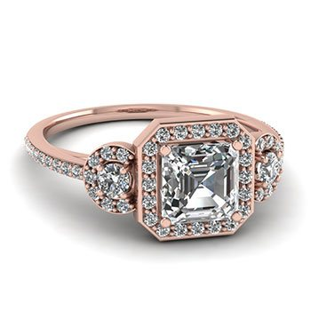 Art Deco 3 Stone Halo Engagement Ring