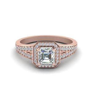 Pave Asscher Halo Ring