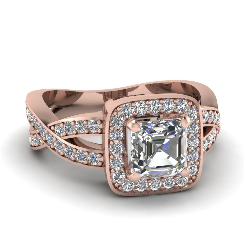Halo Entwined Asscher Infinity Diamond Ring