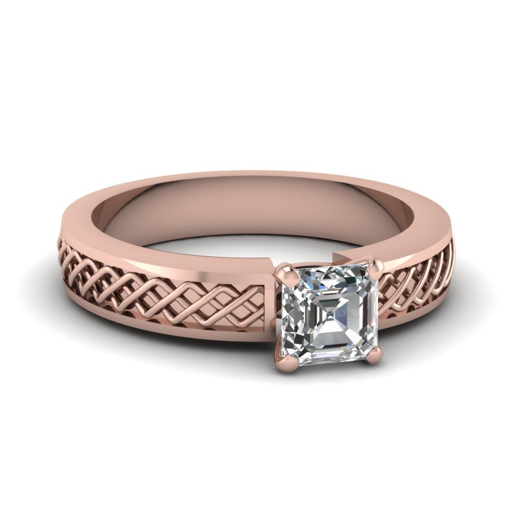 Criss Cross Asscher Cut Solitaire Engagement Ring In 14K Rose Gold