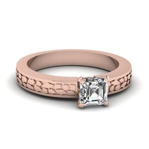 Asscher Cut Carved Solitaire Engagement Ring In 14K Rose Gold