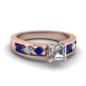 Kite Setting Asscher Cut Diamond Engagement Ring With Sapphire In 14K Rose Gold