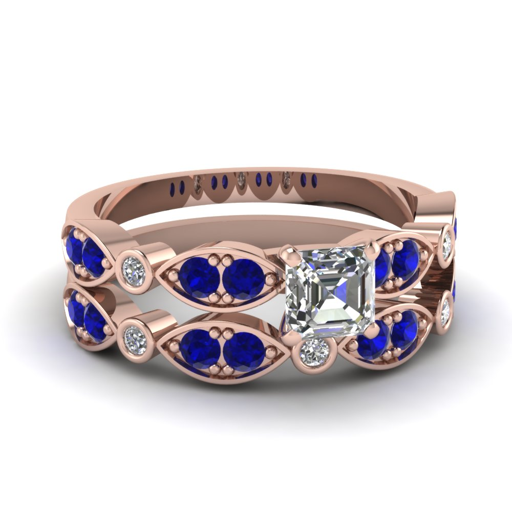 Art Deco Asscher Diamond Wedding Ring Set With Sapphire In 14K Rose Gold