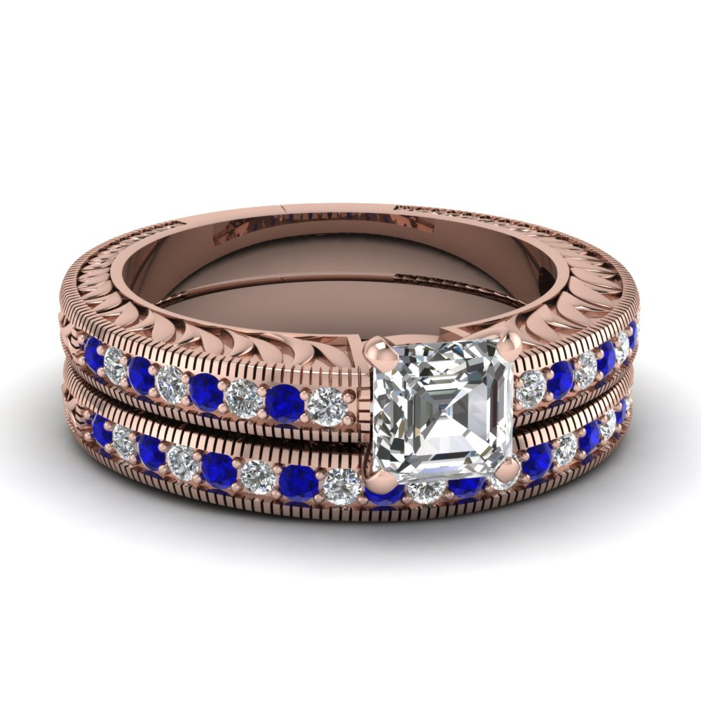 Hand Engraved Asscher Cut Vintage Wedding Ring Set With Sapphire In 14K Rose Gold