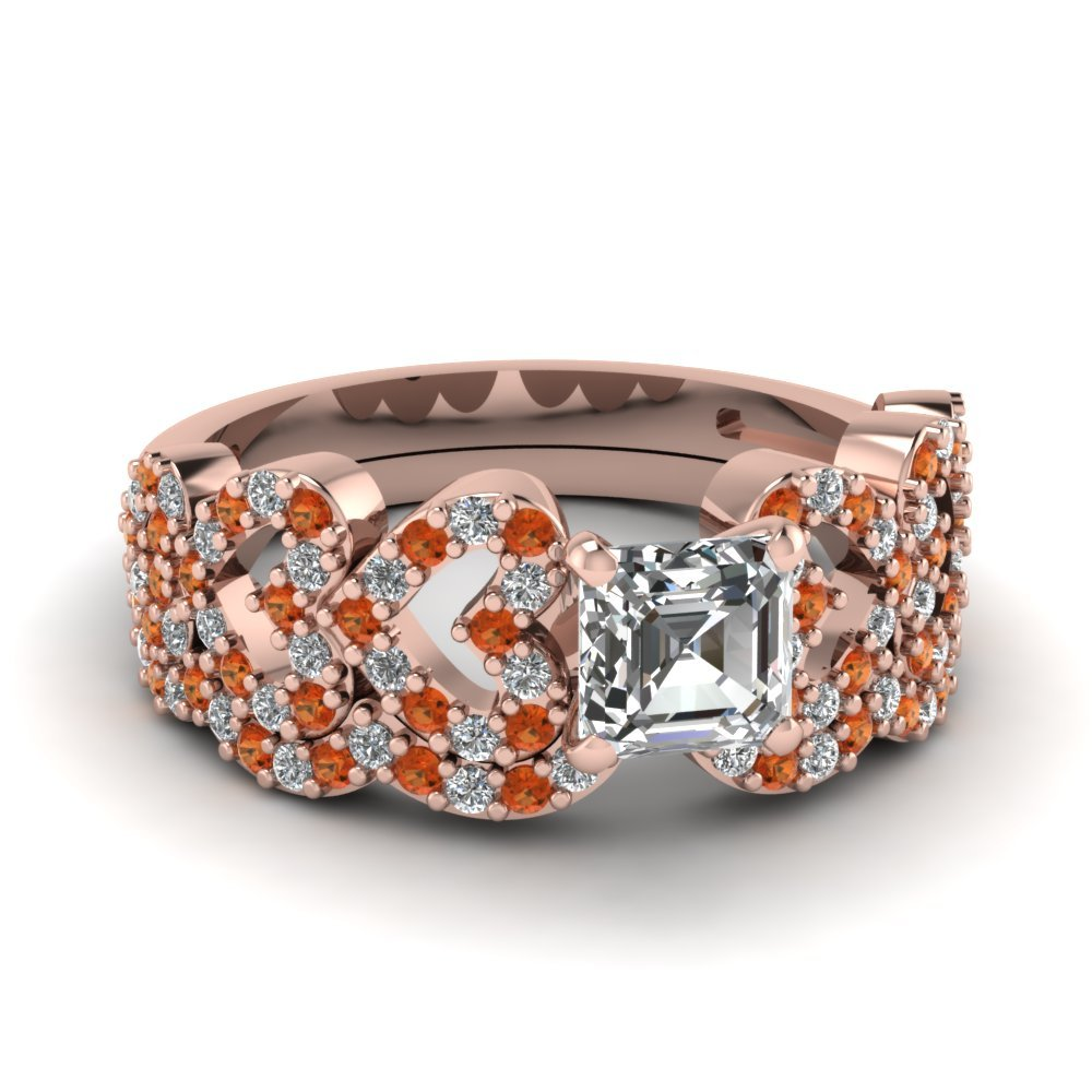 Asscher Cut Heart Design Linked Diamond Wedding Set With Orange Sapphire In 14K Rose Gold