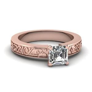 Flower Carved Asscher Cut Ring