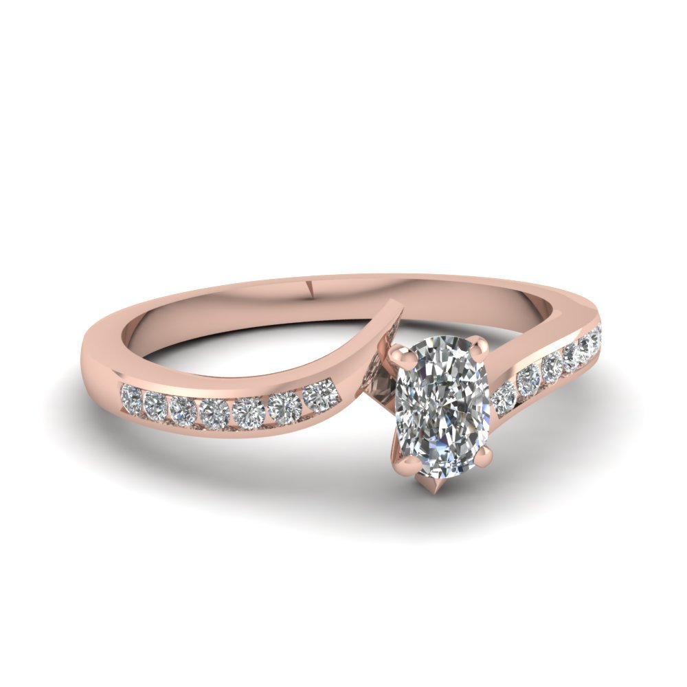 Twist Channel Cushion Diamond Engagement Ring In 14K Rose Gold