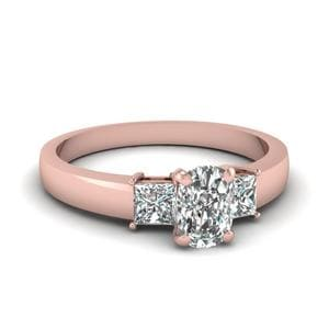 Dainty 3 Stone Cushion Cut Ring