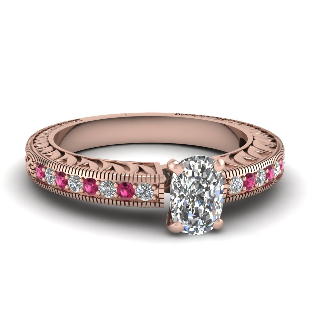 Hand Engraved Cushion Cut Vintage Engagement Ring With Pink Sapphire In 14K Rose Gold