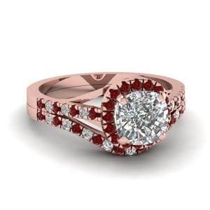 French Pave Ruby Bridal Set
