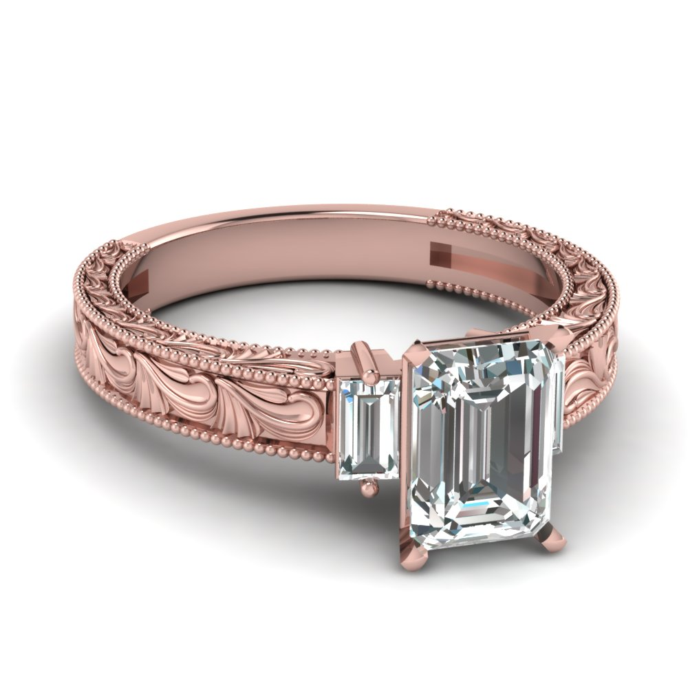 Emerald cut 3 stone Rose gold Engagement Ring