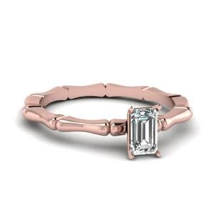 Emerald Cut Bone Design Ring